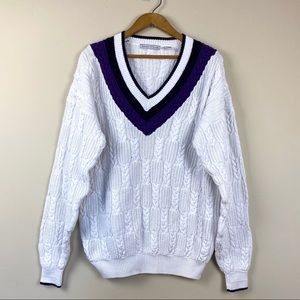 Vintage Izod V Neck Cable Knit Sweater Size XL